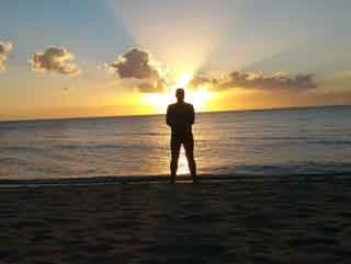 Sonnenuntergang am Sugar Beach in Sipalay.